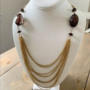 Charming Charlie Brown Crystal Gold Chain Necklace